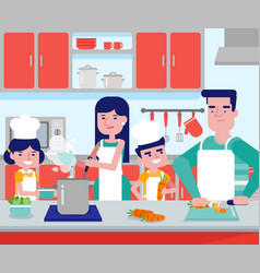 caucasian parents with their kids cooking together vector image