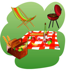 chaise longue grill blanket basket with picnic vector image vector image