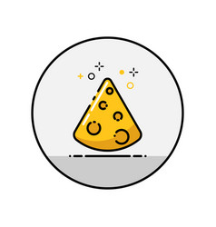 cheese flat line icon vector image vector image