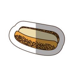 Color hot dog bread icon vector
