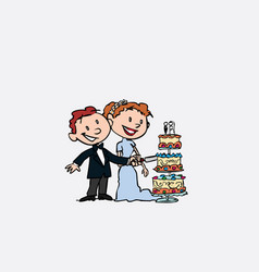 couple of newlyweds cutting wedding cake vector image