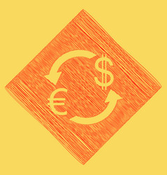 currency exchange sign euro and us dollar vector image vector image