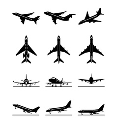 Different passenger aircrafts in flight vector image vector image