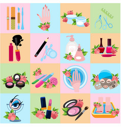 flat icons beauty beauty shop wellness salon vector image vector image