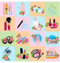flat icons beauty beauty shop wellness salon vector image