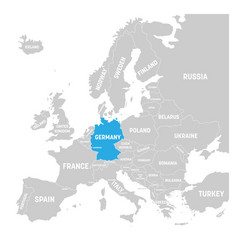 germany marked by blue in grey political map of vector image vector image