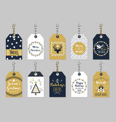 golden and dark blue christmas and holiday tags vector image vector image