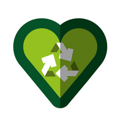 Heart with recycle symbol vector