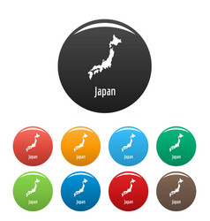 japan map in black set simple vector image