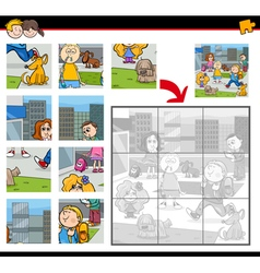 Jigsaw puzzle task with kids vector
