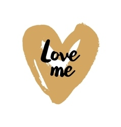 Love me valentine on golden heart vector