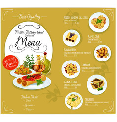 Pasta menu card template vector image