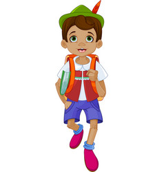 pinocchio going to school vector image