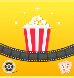 popcorn box film strip two tickets admit one vector image vector image