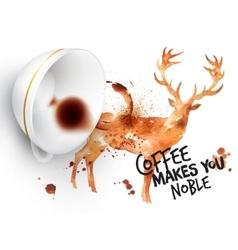 Poster wild coffee deer vector
