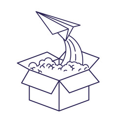Purple line contour of cardboard box and paper vector