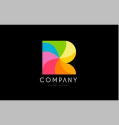 R rainbow colors logo icon alphabet design vector