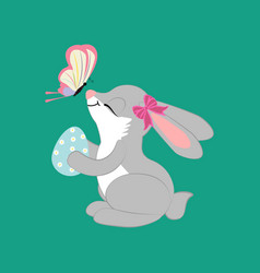 Rabbit with egg and butterfly vector