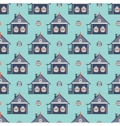 Russian coutry house seamless pattern izba vector