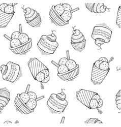 seamless ice cream pattern hand-drawn vector image