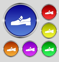Shoe icon sign round symbol on bright colourful vector