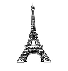 sketch black eifel tower hand drawn vector image