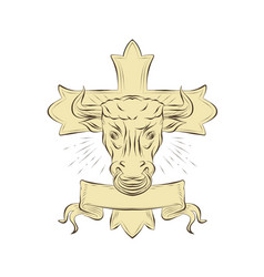 Taurus bull christian cross drawing vector