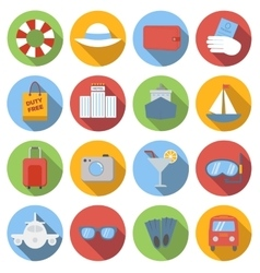 Travel icons colored set vector