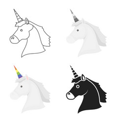 Unicorn icon cartoon single gay icon from the big vector
