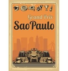 Vintage poster grand prix sao paulo vector