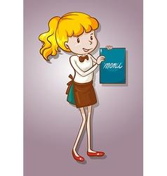 Waitress holding a menu vector