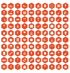 100 fruit party icons hexagon orange vector image vector image