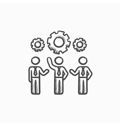 Businessmen under the gears sketch icon vector