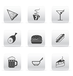 Button set icons food and drink vector