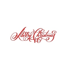 Merry christmas red handwritten lettering vector