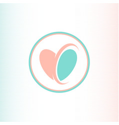 Two halves of the heart logotype pink and blue vector
