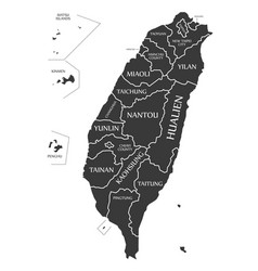 Taiwan map labelled black vector