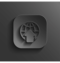 Globe icon - black app button vector image