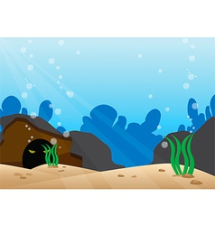 Under the sea scene with detail bottom of the sea vector