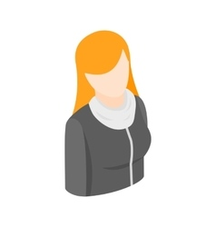 Woman with long red hair icon isometric 3d style vector