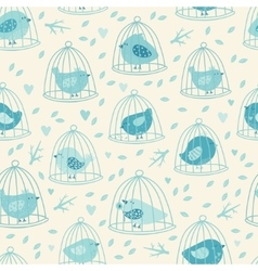 Lovely seamless pattern with cute birds and tree vector