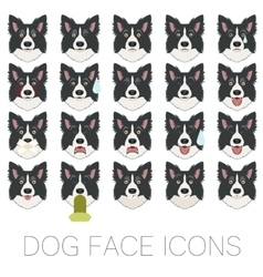 Set of dog face icons vector image