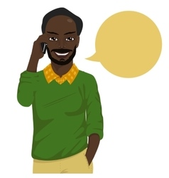 african american hipster man talking on smartphone vector image