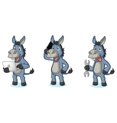 Blue donkey mascot with laptop vector