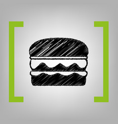 Burger simple sign black scribble icon in vector