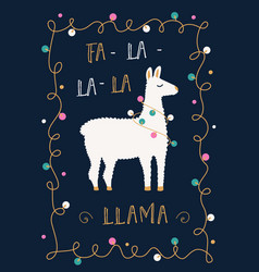 Christmas or winter holidays card with llama and vector