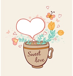 Cup of coffee and flowers vector