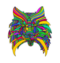 dog head bright psychedelic animal pattern vector image vector image