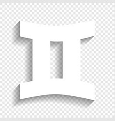 Gemini sign white icon with soft shadow vector