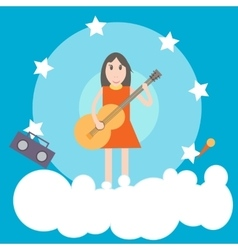 Girl with guitar flat vector
